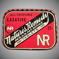 Vintage Nature's Remedy Laxative Tin - Old Medical Advertising Tin