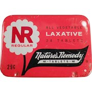 Vintage Laxative Tin - Nature's Remedy - NR Regular - Old Medical Advertising Tin