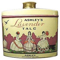 Vintage Talc Tin -  Old Ashley's Lavender Talc - 1940's - 1950's