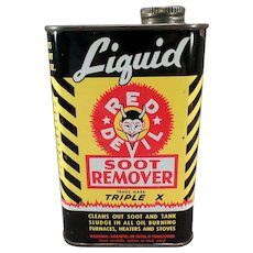 Vintage Red Devil Soot Remover Tin - Nice Advertising Display Tin