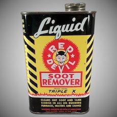 Vintage Red Devil Soot Remover Tin - Nice Advertising Display Tin
