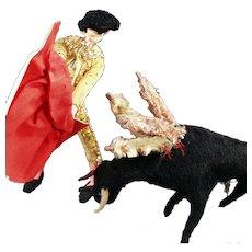 Vintage Cloth Doll Set - Matador Doll and Charging Bull
