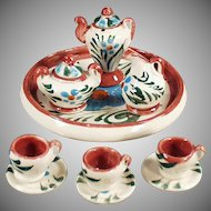 Vintage Dollhouse Dishes - Miniature Hand Painted Pottery Tea Set