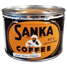 Vintage Coffee Tin - Old Key Wind Sanka with Turbaned Man Logo