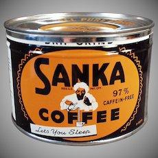 Vintage Coffee Tin - Old Key Wind Sanka with Turbaned Man Logo