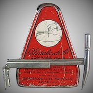 Vintage 1920's Esterbrook Drafting Compass with Original Graphic Tin