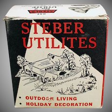 Vintage Steber Utilite Indoor/Outdoor Light Fixture with Original Box