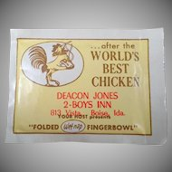 Vintage Boise Restaurant Advertising - 8 Old Finger Wipe Packets with Chicken Graphics