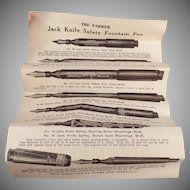 Vintage Parker Fountain Pen Box – Jack-Knife Safety Fountain Pen Box and Instructions Only