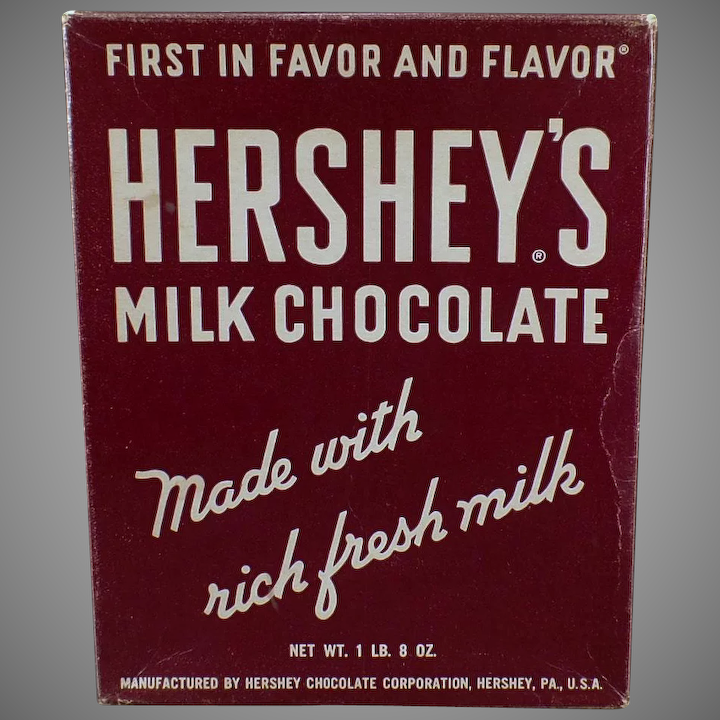 Vintage Candy Box - Old Hershey's Milk Chocolate Candy Bar - Empty Box