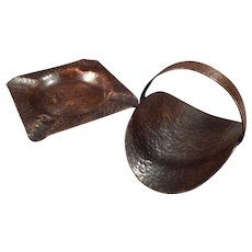 Vintage Arts & Crafts Hammered Copper Set - Ashtray with Matching Cigarette Holder
