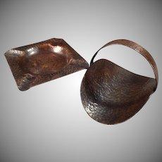 Vintage Arts & Crafts Hammered Copper Set - Ashtray with Matching Cigarette Holder