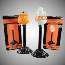 Vintage Halloween Novelties - Electric Lamp Pumpkin and Ghost wih Boxes
