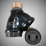 Vintage Two Bulb Benjamin Socket Converter with Arrow Plug Adapter