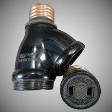 Vintage Two Bulb Benjamin Socket Converter with Arrow Plug Adapter