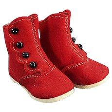 Vintage Felt Baby Shoes - Red Felt & Black Buttons - Alfred Dolge's Slippers