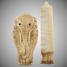 Vintage Celluloid Moustache Comb - Elephant Novelty Comb - Early 1900's Germany