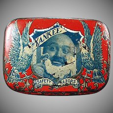 Vintage Razor Tin - Graphic Yankee Safety Razor Tin - Early 1900's