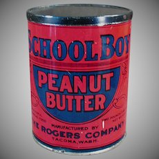 Vintage School Boy Peanut Butter Tin - Rogers Co. Seattle / Tacoma