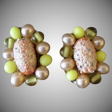 Vintage Clip-On Costume Earrings – Pink & Yellow Beads - 1950's - 1960's Japan