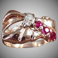 Ladies Vintage Retro Ring - Rubies & Diamonds Set in 14k Rose Gold