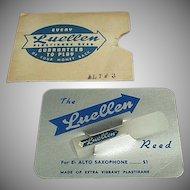 Vintage Saxaphone Reed - Old Luellen Plastikane Reed 1940's Original Package