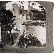 Vintage Stereoscopic Card - Conway Castle in Wales #201 - Medieval Fortress