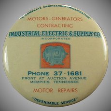 Vintage Celluloid Mirror - Industrial Electric Supply Co. Advertising Paperweight