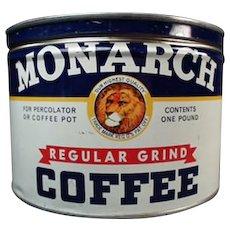 Vintage Coffee Tin - 1# Monarch Key Wind Can - Reid Murdoch Co