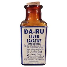 Vintage Da-Ru Liver Laxative Bottle – Old Medical Advertising Medicine Bottle