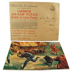 Vintage Puzzle - Fun & Colorful Limerick - Davoe & Raynolds Advertsing Premium