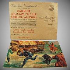 Vintage Puzzle - Fun & Colorful Limerick - Davoe & Raynolds Advertsing Premium