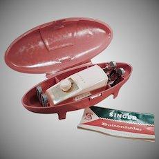 Vintage Singer Button Hole Attachment - 1960's Singer Model 489510 - Pink Case