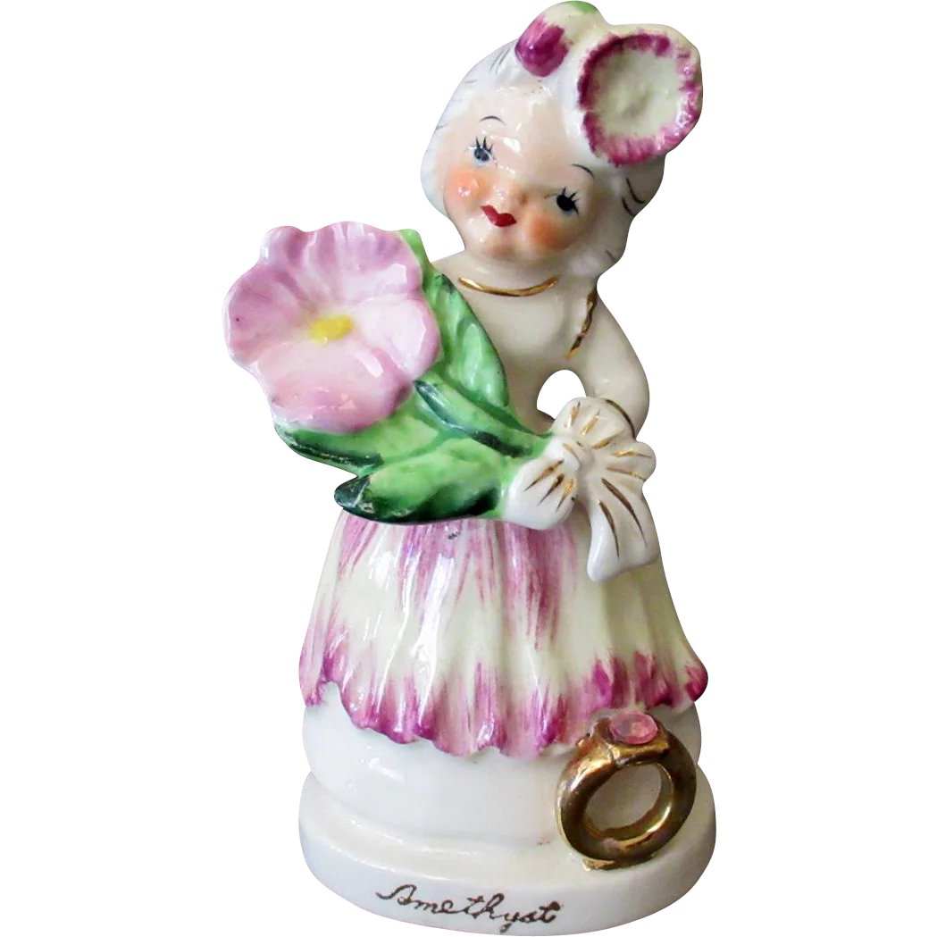 Vintage Ceramic Birthday Figure For February With Flower And
