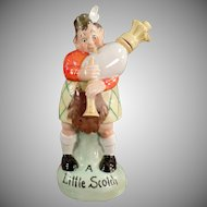 Vintage S & V Figural Flask - Scottish Bagpipe Player - Original Stopper