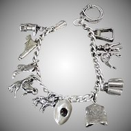 Vintage Sterling Silver Charm Bracelet - Fifteen (15) Interesting Western Motif Charms on Chain