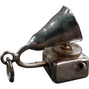 Vintage Moveable Charm - Sterling Silver - External Horn Phonograph