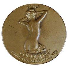 Vintage Bronze Paperweight Medallion - Ciba Locorten Advertising with Nude Woman