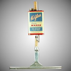 Vintage Floor Wax Applicator - Hi-Gloss Handy Waxer with Original Tin - 1940's -1950's