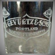 Vintage Advertising Glass - Portland Oregon Gevurtz and Sons Furniture Store