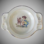 Vintage Baby Plate – Little Girl Feeding Teddy Bear – Fork & Spoon Rests