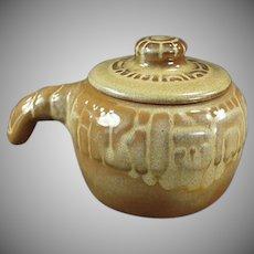 Vintage Frankoma Pottery -  Mayan Aztec Covered Bean Pot - Desert Gold Glaze