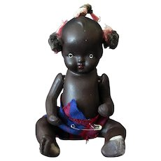 "Vintage Japanese Bisque – 5"" Black Baby Doll"