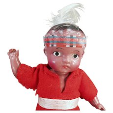 """Vintage Celluloid Doll - Very Cute Indian Brave 7"""" Doll"""
