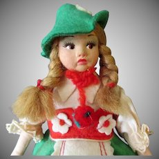Vintage Felt Doll in Ethnic Costume – Magis Roma Tirlol – Made in Italy