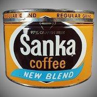 Vintage Coffee Tin - Old Maxwell House Sanka 1# Key Wind