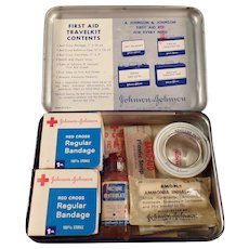Vintage Medical Advertising - Johnson & Johnson First Aid Travelkit Tin with Contents