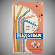 Vintage Paper Straws - Old Flex-Straws, Pastel Colored in Original Box