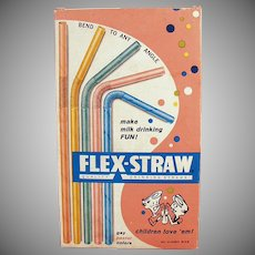 Vintage Paper Straws - Old Flex-Straws, Pastel Colored in Original Box