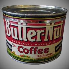 Vintage Coffee Tin- 1# Butter-Nut Key Wind Coffee Tin